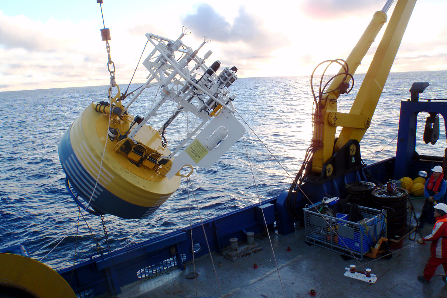 Photo of a mooring deployment. Credit: Tom Trull